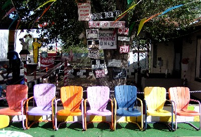 Retro Lawn Chairs On Colorful Vintage Metal Lawn Chairs Await The Arrival  Of The Bus Tous